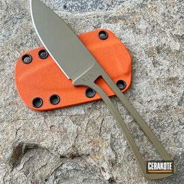 Custom Fixed Blade Knifes Cerakoted Using Hunter Orange, Gloss Black And Fde