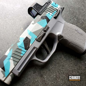 Splinter Camo Sig Sauer P365 Cerakoted Using Satin Aluminum, Sig™ Dark Grey And Aztec Teal