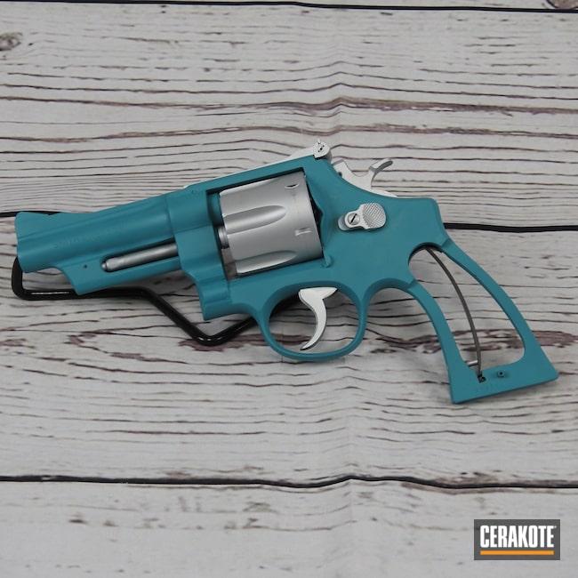 Cerakoted: AZTEC TEAL H-349,Smith & Wesson,Revolver,Cobra Tactical,Satin Aluminum H-151