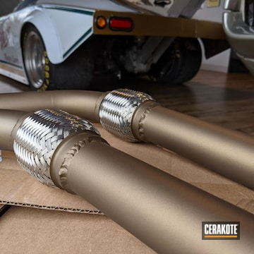 "Set Of 2"" Mild Steel Downpipes Cerakoted Using Burnt Bronze"