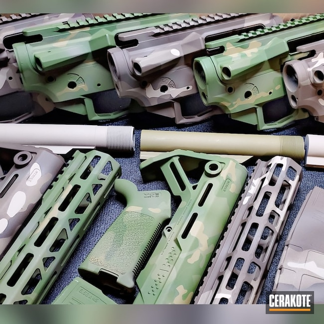 Custom Ar Builder Set Kits Cerakoted Using Desert Sage, Multicam® Bright Green And Chocolate Brown