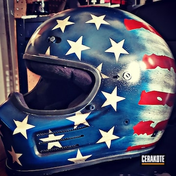 United States Flag Themed Simpson Motorcycle Helmet Cerakoted Using Stormtrooper White, Usmc Red And Nra Blue