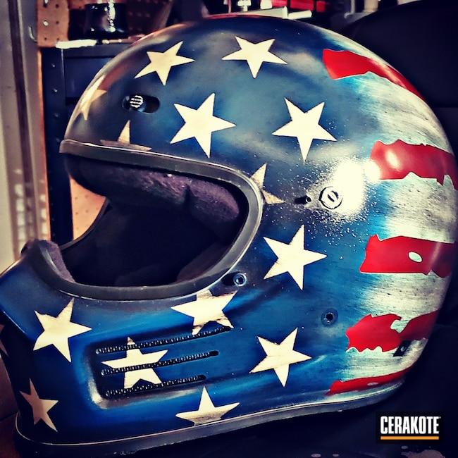 Cerakoted: S.H.O.T,NRA Blue H-171,Motorcycle Helmet,Stormtrooper White H-297,Helmet,USMC Red H-167,Racer