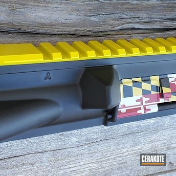 Handguard And Barrel Cerakoted Using Electric Yellow, Usmc Red And Graphite Black