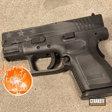 Distressed United States Flag Themed Springfield Xd Pistol Cerakoted Using Graphite Black And Tungsten
