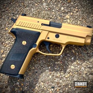 Sig Sauer P229 Pistol Cerakoted Using Gold