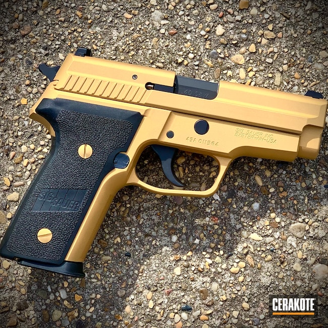 Cerakoted: S.H.O.T,SIGP229,P229,Sig Sauer,Gold H-122