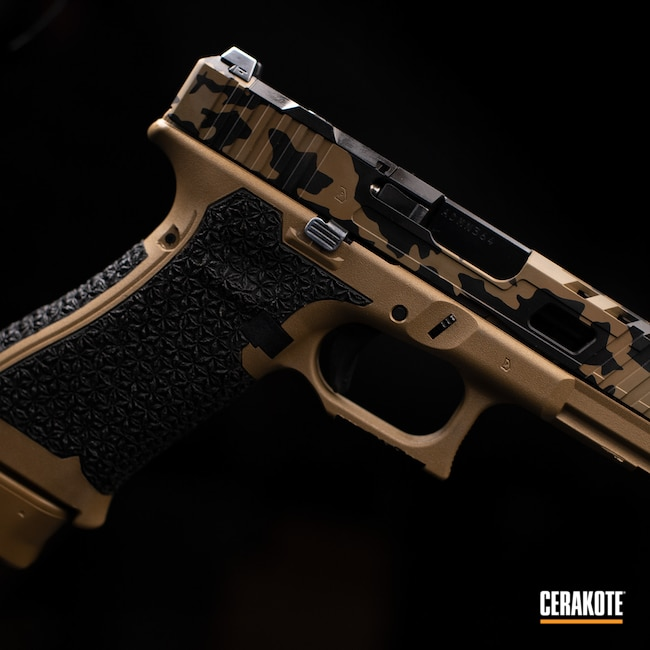 Cerakoted: S.H.O.T,9mm,Graphite Black H-146,Federal Standard Tan H-20180,Stippled,Glock,Flat Dark Earth H-265,GLOCK® FDE H-261,Handgun,Glock 19X