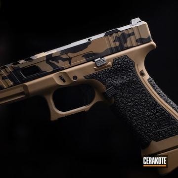 Custom Stippled Glock 19x Pistol Cerakoted Using Graphite Black And Flat Dark Earth