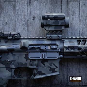 Dark Multicam Spikes Tactical Ar Build Cerakoted Using Hazel Green, Sig™ Dark Grey And Graphite Black