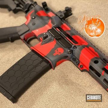 Ar Build Cerakoted Using Usmc Red, Graphite Black And Tungsten