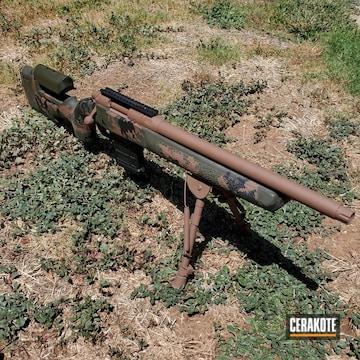 Custom Camo Remington 700 Rifle Cerakoted Using O.d. Green, Graphite Black And Copper Brown
