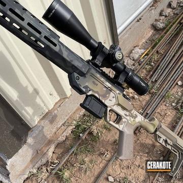 Custom Camo Rifle Chassis Cerakoted Using Armor Black, Desert Sand And Sniper Green