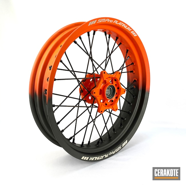 Cerakoted: Aluminum Wheels,SmPro,Automotive,Hunter Orange H-128,Cobalt H-112,Wheels,Motorcycle