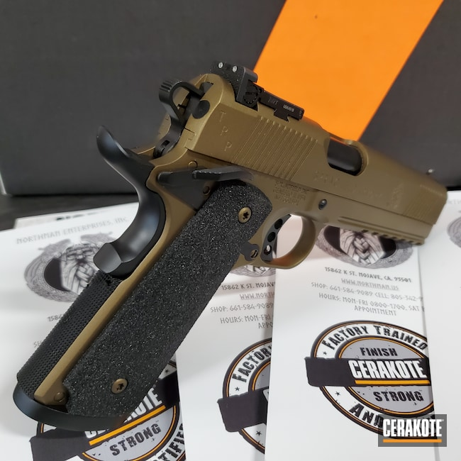 Cerakoted: S.H.O.T,.45,FullRail,Tactical,Two Tone,operator,Burnt Bronze H-148,Armor Black H-190,Springfield Armory,TRP,1911