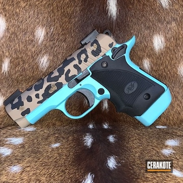 Cheetah Print Themed Kimber Micro 9 Pistol Cerakoted Using Desert Sand, Robin's Egg Blue And Burnt Bronze