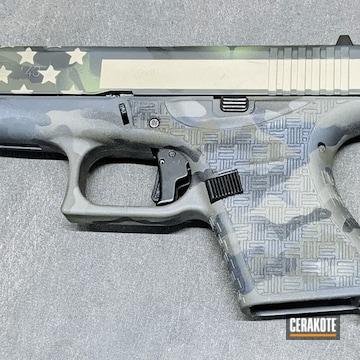 Custom Glock 43 Pistol Cerakoted Using Armor Black, Patriot Brown And Bright White
