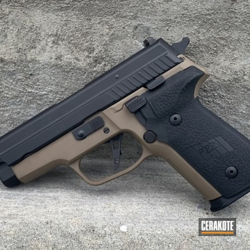 Sig Sauer P229 Pistols Cerakoted Using Graphite Black And Flat Dark Earth