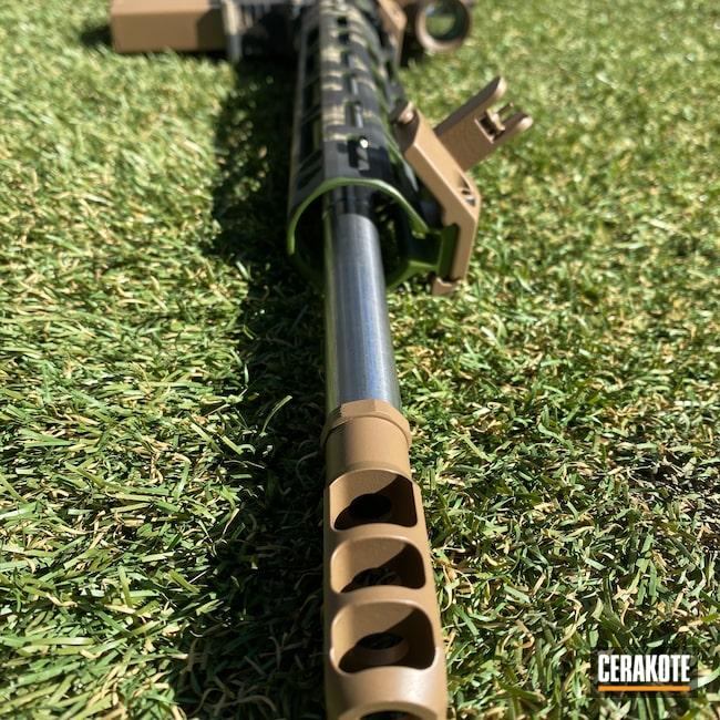 Cerakoted: S.H.O.T,MULTICAM® BRIGHT GREEN H-343,Tiger Stripes,Battleworn,#custom,Graphite Black H-146,Desert Sand H-199,SIG™ DARK GREY H-210,.308,AR 10