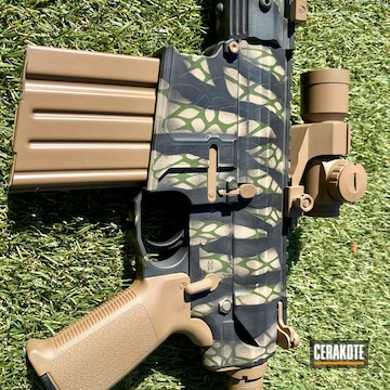 Custom Camo Ar Cerakoted Using Desert Sand, Multicam® Bright Green And Sig™ Dark Grey