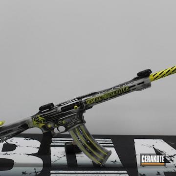 Custom Shotgun Cerakoted Using Armor Black, Electric Yellow And Battleship Grey