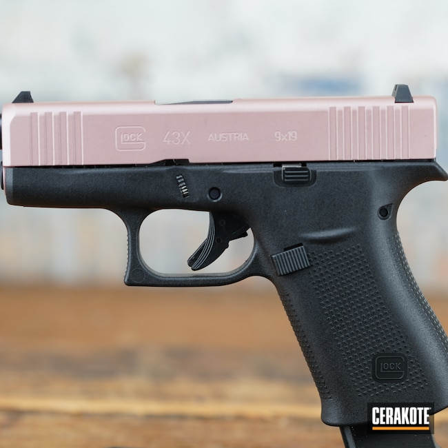Cerakoted: S.H.O.T,9mm,Pistol,Glock,ROSE GOLD H-327,43x,Handgun