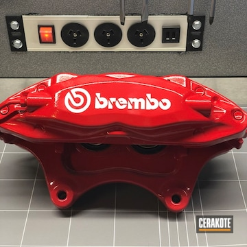 Brembo Calipers Cerakoted Using High Gloss Ceramic Clear And Ruby Red