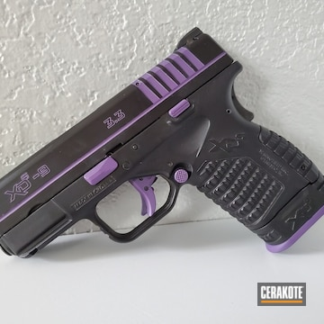 Springfield Armory Xds-9 Pistol Cerakoted Using Graphite Black And Bright Purple