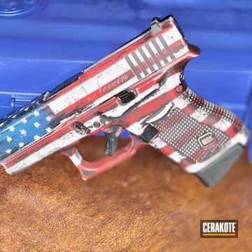 Distressed American Flag Themed Glock 43 Pistol Cerakoted Using Stormtrooper White, Usmc Red And Nra Blue