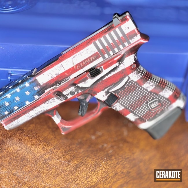 Cerakoted: S.H.O.T,9mm,NRA Blue H-171,Graphite Black H-146,Stormtrooper White H-297,Distressed American Flag,USMC Red H-167,American Flag,Glock,Glock 43