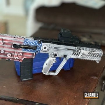 Distressed United States Flag Themed Tavor Cerakoted Using Stormtrooper White, Usmc Red And Nra Blue