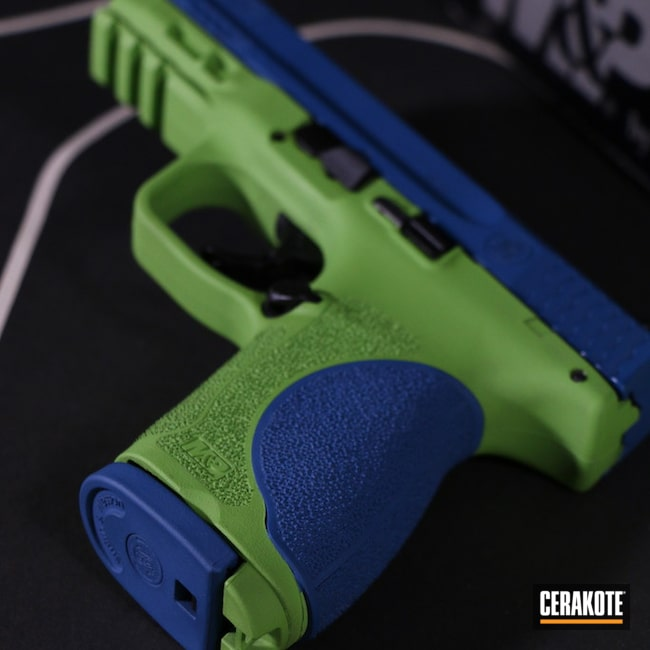 Cerakoted: S.H.O.T,9mm,Smith & Wesson SD9,M&P 9,Smith & Wesson,Zombie Green H-168,Ridgeway Blue H-220