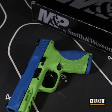 Smith & Wesson M&p 9 Pistol Cerakoted Using Ridgeway Blue And Zombie Green
