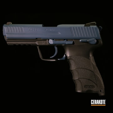 Hk 45 Pistol Cerakoted Using Socom Blue And Graphite Black