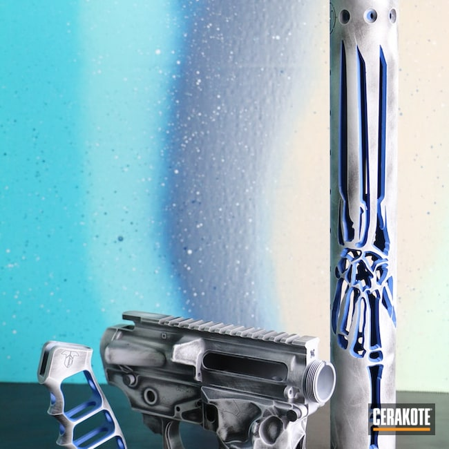 Cerakoted: S.H.O.T,NRA Blue H-171,Spikes Jack Lower,Graphite Black H-146,Spikes Receiver,Stormtrooper White H-297,AR-15