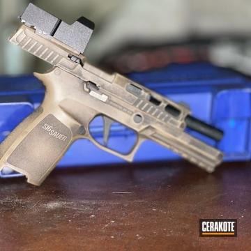 Battleworn Sig Sauer P320 Pistol Cerakoted Using M17 Coyote Tan And Graphite Black