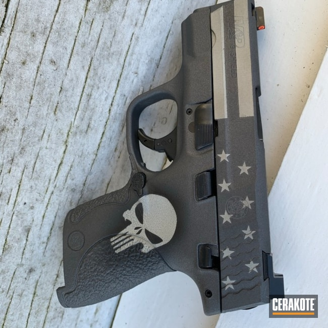 Punisher Themed Smith & Wesson Shield Cerakoted Using Bright Nickel, Graphite Black And Tungsten