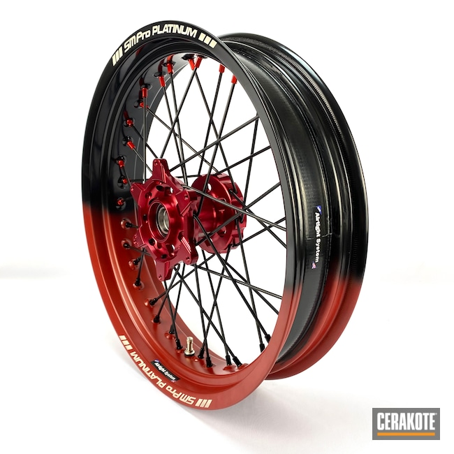 Cerakoted: Gloss Black H-109,Two Tone,Supermoto,Crimson H-221,Automotive,KTM,Wheels,Motorcycle