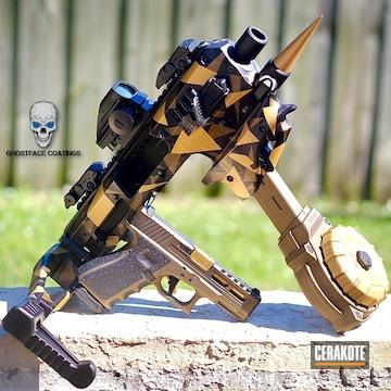 Splinter Camo Mck Shield And Glock 17 Cerakoted Using Gloss Black, Matte Armor Clear And Burnt Bronze