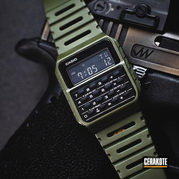 Casio Watch Cerakoted Using Mil Spec O.d. Green