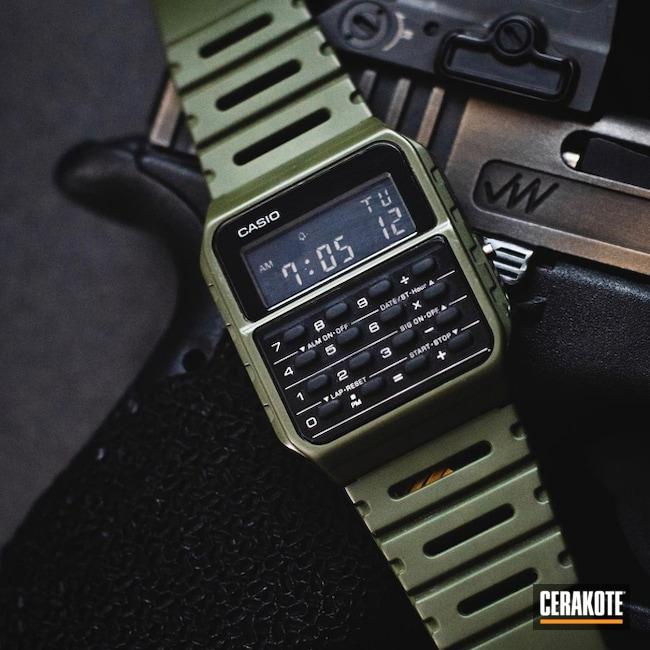 Casio Watch Cerakoted Using Mil Spec O.d. Green