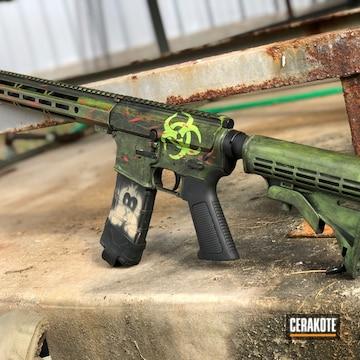 Zombie Themed Ar-15 Cerakoted Using Armor Black And Zombie Green