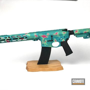 Glow In The Dark Flamingo Themed Ar Cerakoted Using Pink Sherbet, Blue Raspberry And Parakeet Green