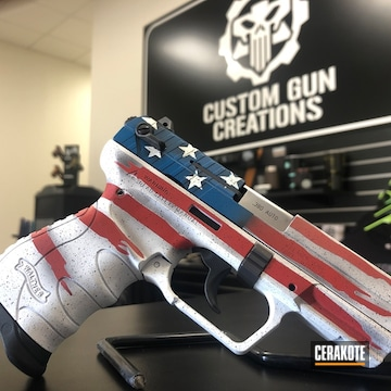 United States Flag Themed Walther Pistol Cerakoted Using Armor Black, Snow White And Sky Blue