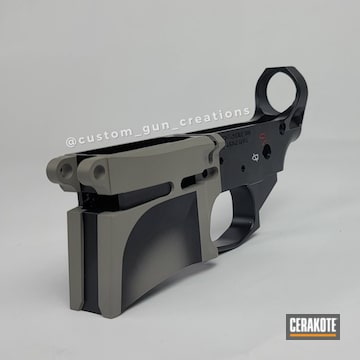 Ar Lower Cerakoted Using Armor Black, Bull Shark Grey And Firehouse Red