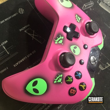 Xbox Control Cerakoted Using Sig™ Pink, Armor Black And Parakeet Green