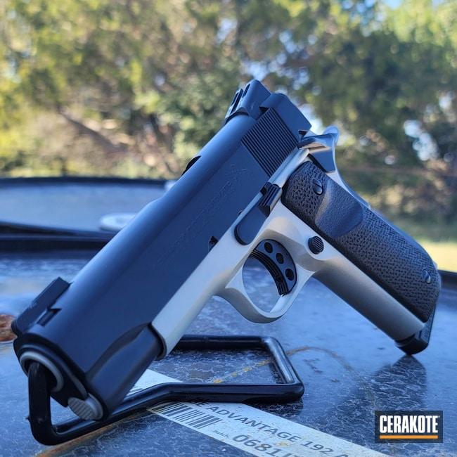 Cerakoted: S.H.O.T,.45,BLACKOUT E-100,Two Tone,Satin Aluminum H-151,Pistol,Solid,1911
