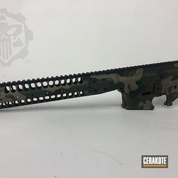 Woodland Camo Ar Builders Set Cerakoted Using Armor Black, Forest Green And Chocolate Brown
