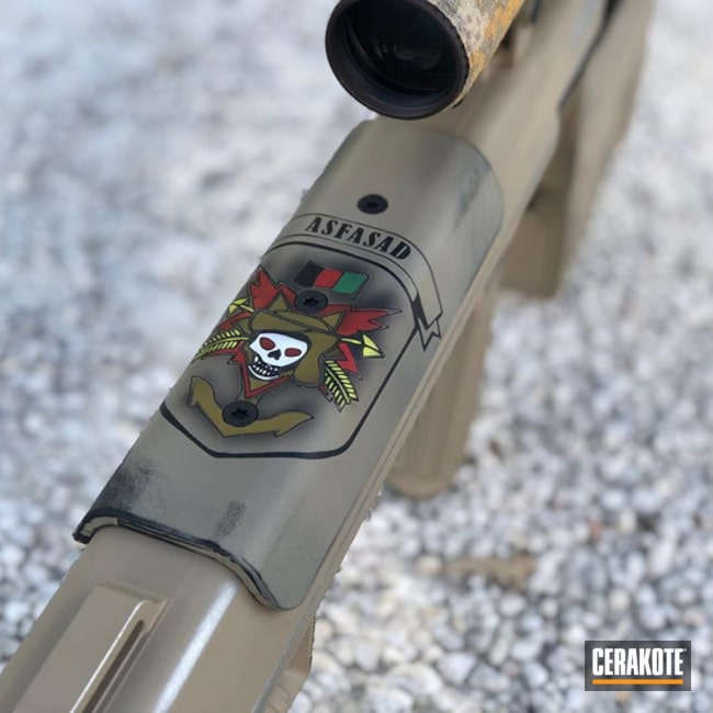 Barret .50 Cal Cerakoted Using Noveske Tiger Eye Brown, Armor Black And Snow White