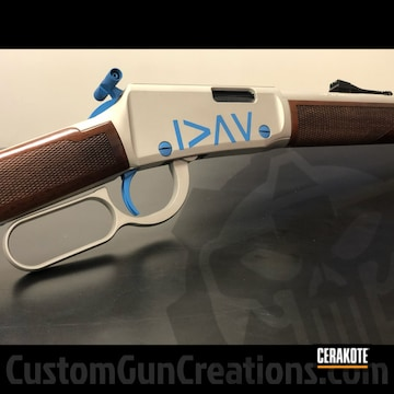 Marlin Lever Action Rifle Cerakoted Using Blue Raspberry And Titanium